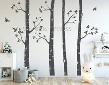 Nursery Wall Stickers Birch Trees Wall Decals Large Tree Wall Mural Set Of 4 Trees Birds Nursery Baby Room Wall Decoration ZW489 trees page 4