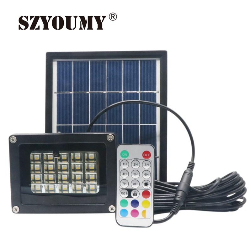 SZYOUMY LED Solar Flood Light 20 LEDs RGBW Changing Outdoor Security Wall Lamp IP65 Remote Controller Garden Solar Spotlight