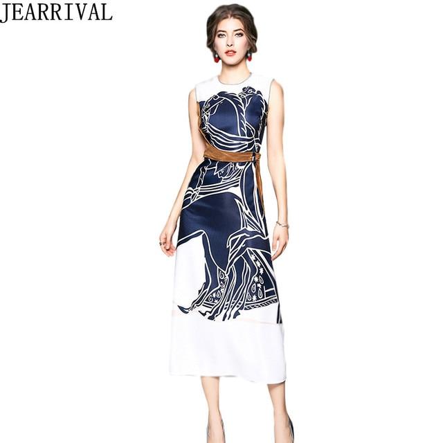 Women s Maxi Dress 2018 New Summer Fashion O-Neck Sleeveless Slim Vintage  Print Casual Long Dress Party Vestidos De Festa 15df6f866