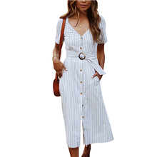 Women Summer Classic Dresses Short Sleeve V Neck Button Down Belted Swing Midi Dresses With Pockets Casual Beach Sundress evan picone women s fresh picked belted sundress 16 hibiscus