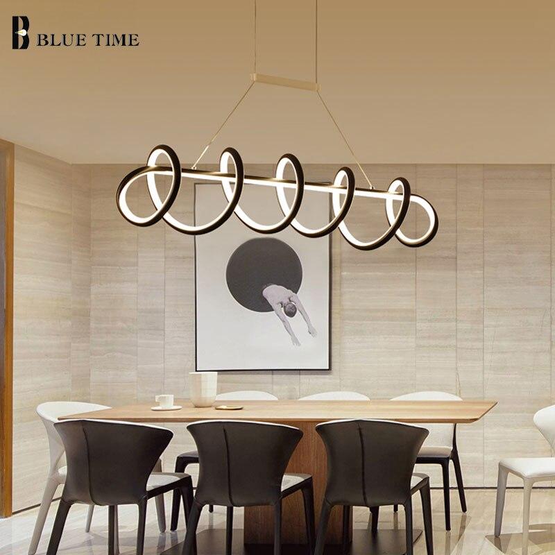 L120cm L90cm Modern LED Chandelier Lamp For Dining room Kitchen Living room Luminaires Led Chandelier Hanging Lamp Black/White Chandeliers     - title=