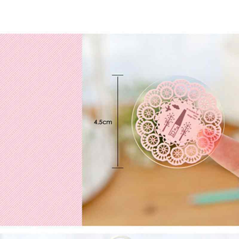 10 Sticker/sheet Stationery Stickers Scrapbook Round Lace Decoration Transparent Decorative Phone Photo Album Diary Diy Decal