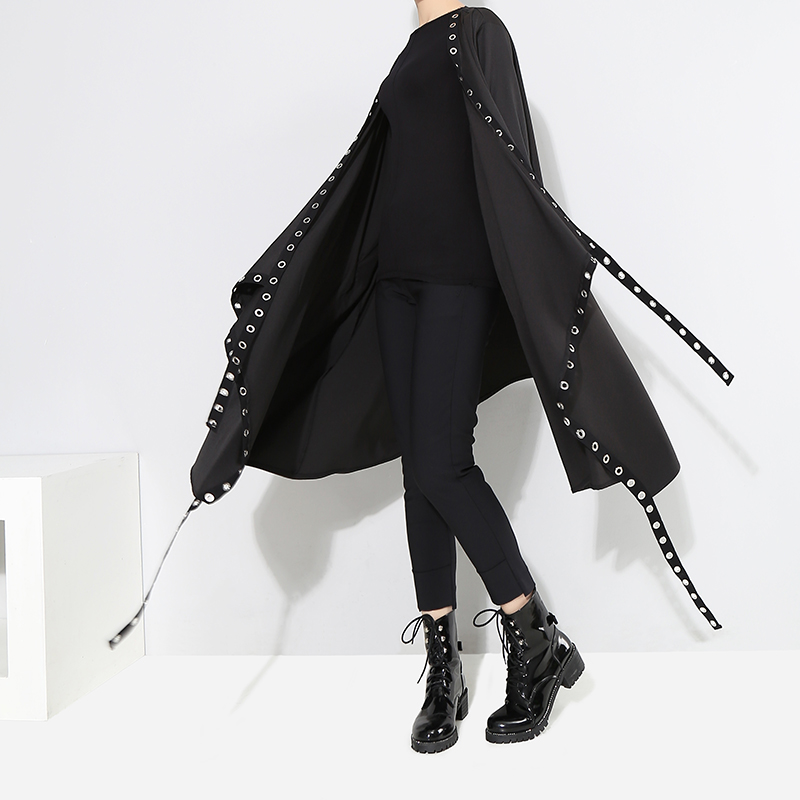 Image 4 - 2020 Korean Style Women Solid Black Unique Jacket Open Design Very Long Tape Metal Holes Female Stylish Loose Jacket Cloak 3843Jackets   -