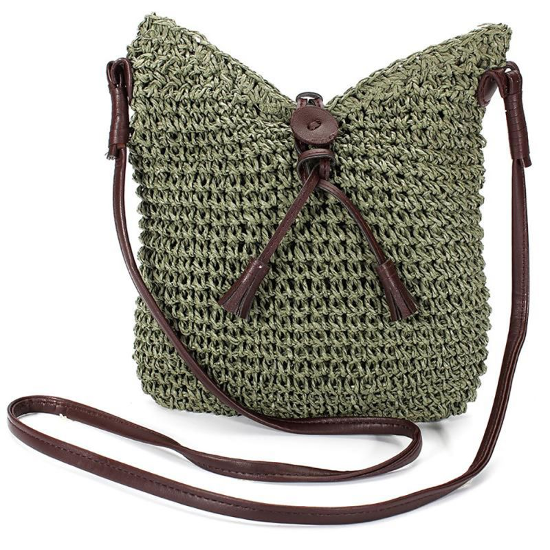 FGGS Fabric bags Shoulder Straw Summer of Women Fabric Crossbody Bags Canvas Jute Beach Travel Bag Army Green amira sabet el mahrouky improvement of jute packages to resist insects during crops storage