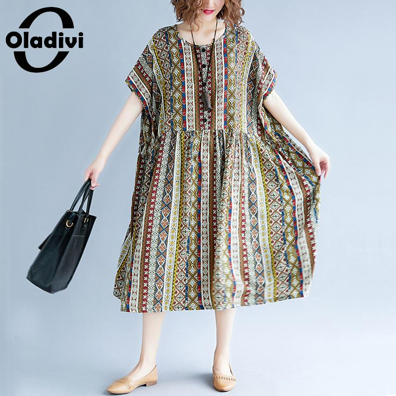 5f9472225c9 Toile Robe Robes Nouveau Tunique Marque Lady Oladivi Plus De Lâche Longue Femme  Vêtements Mode Coton D été Taille Casual Kaki Imprimer Surdimensionné ...