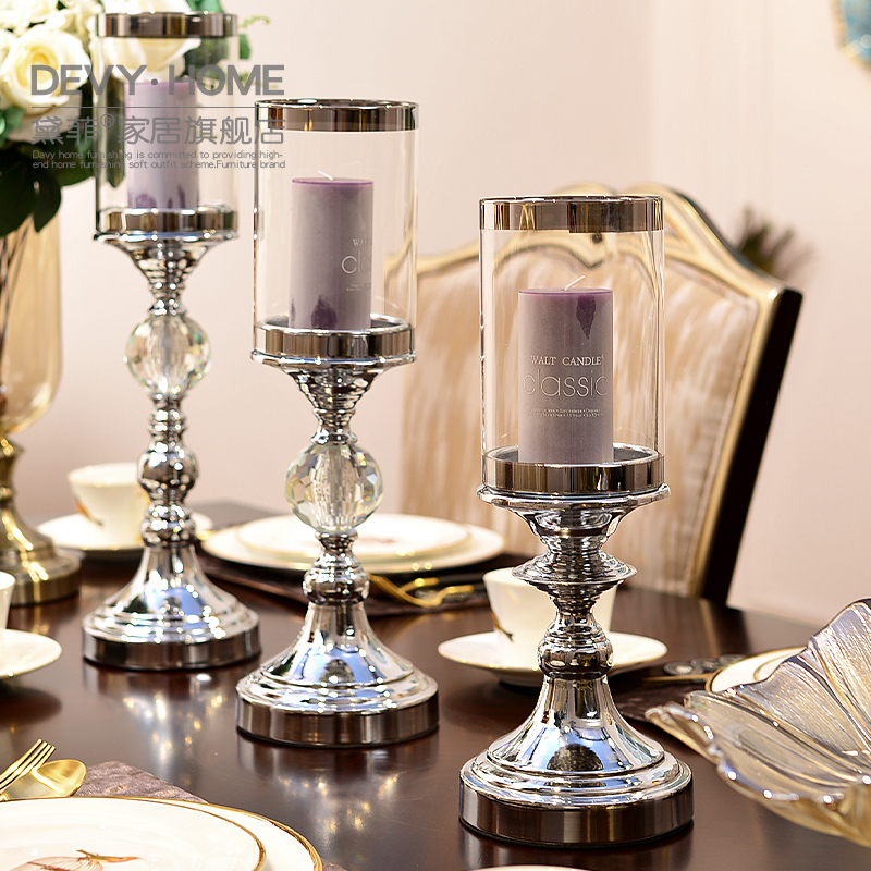 European style Ornaments Modern Home Glass Metal Candlestick Creative Living Room Table Decoration