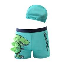 Funfeliz Boy swimsuit with Swimming Cap Dinosaur Trunk for Boys 3-10T Children Swimwear Shorts Kids Bather