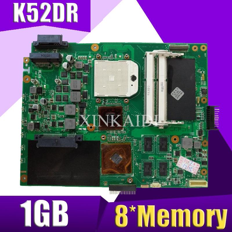 XinKaidi  K52DR Laptop Motherboard For ASUS K52DR A52DE K52DE A52DR K52D K52 Test Original Mainboard AMD 1G Video Card
