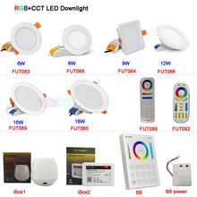 Milight 6W/9W/12W/15W/18W RGB+CCT LED Downlight Dimmable LED Ceiling Spotlight AC110V 220V FUT063/FUT066/FUT068/FUT069/B8/iBox1 milight ac110v 220v 4w led bulb dimmable mr16 gu10 rgb cct spotlight indoor decoration use with 2 4g wireless rf led remote wifi