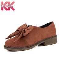 KemeKiss Women Flats Shoes 2019 Sweet Bowknot Nubuck Casual Shoes Women Round Toe Daily Vacation Flat Footwear Size 31 43