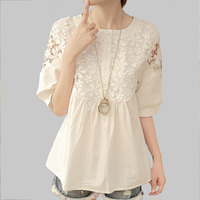Blusas Crochet Hollow Out Lace Women Blouses Summer Casual Loose Cute Patchwork White Shirt Women Tops