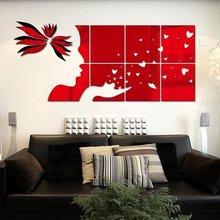 Creative INS geometric mirror flower childrens room bedroom living TV background brick wall 3D acrylic sticker