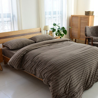 Brief Stripe Bedding Set 4Pcs Set Duvet Cover Fitted Sheet 2 Pillow Cases 100 Cotton Solid