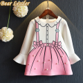 Bear Leader Girls Dress 2017 New Autumn Princess Dresses Children Clothing Flare Sleeve Bow Printing Design for Girls Clothes