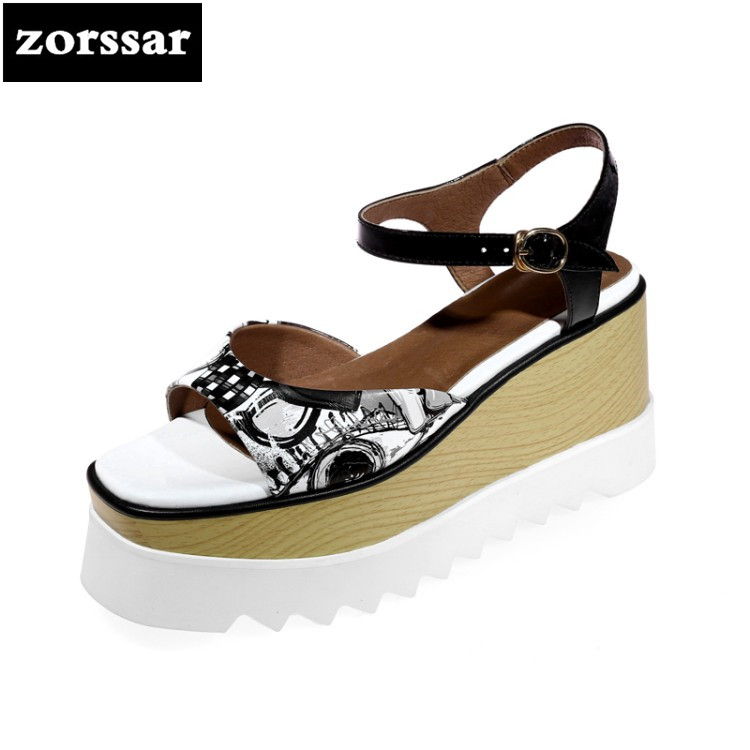 {Zorssar} Genuine Leather Women Wedges Sandals Summer Shoes Open Toe platform High heels Roman Gladiator Sandals woman shoes lenkisen genuine leather big size wedges summer shoes gladiator super high heels straw platform sweet style women sandals l45