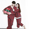2016 Xmas Plaid Men Women Cotton Pajamas Couple Pyjama Suits Winter Garment Sleepwear Nightclothes  Christmas Gift