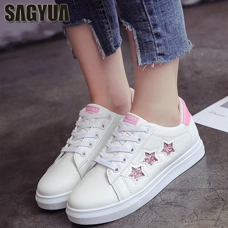 SAGYUA Womens Star Pattern Fashion Spring Female Flats Boards Shoes Casual Comfort Lace Up Walk Sapatos Zapatos Chaussures T123