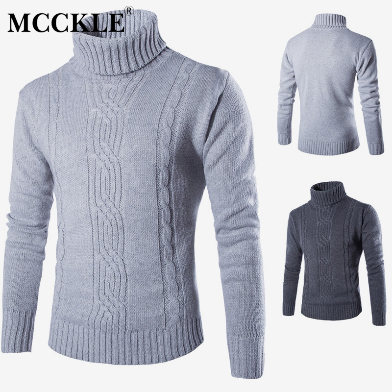 Turtleneck Men's Sweater High Collar Long Sleeve Gray Pullover Sweaters For Mens 2019 Autumn Winter Warm Male Pullovers Jumpers