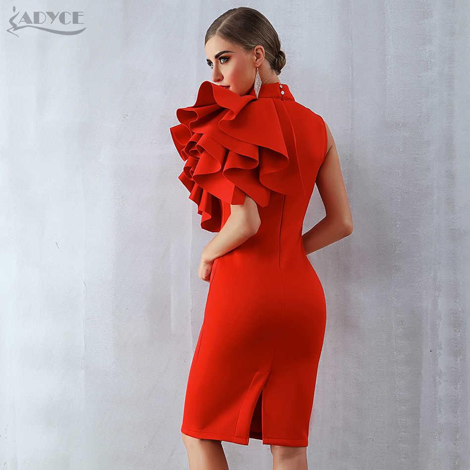 ee158dc164c9 ... Adyce 2019 New Summer Women Celebrity Party Dress Vestidos Sexy White  Red Sleeveless Ruffles Bodycon Midi ...