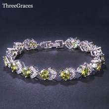 ThreeGraces 925 Sterling Silver Clear White And Olive Green Cubic Zircon Crystal Fashion Friendship Bracelets For Women BR99