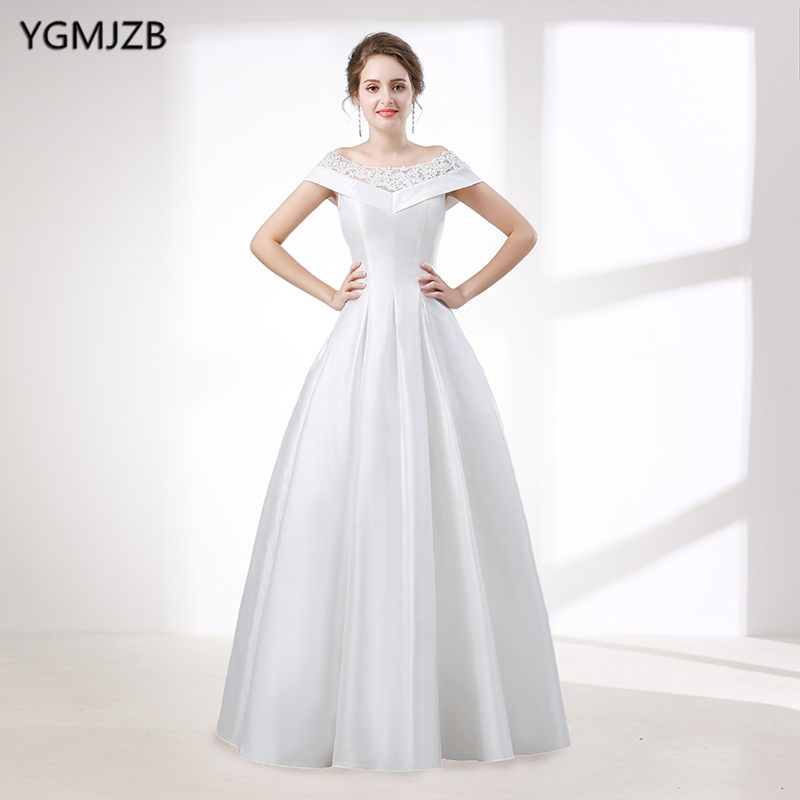 Elegant White A Line Wedding Dress Long 2018 Scoop Off Shoulder ...
