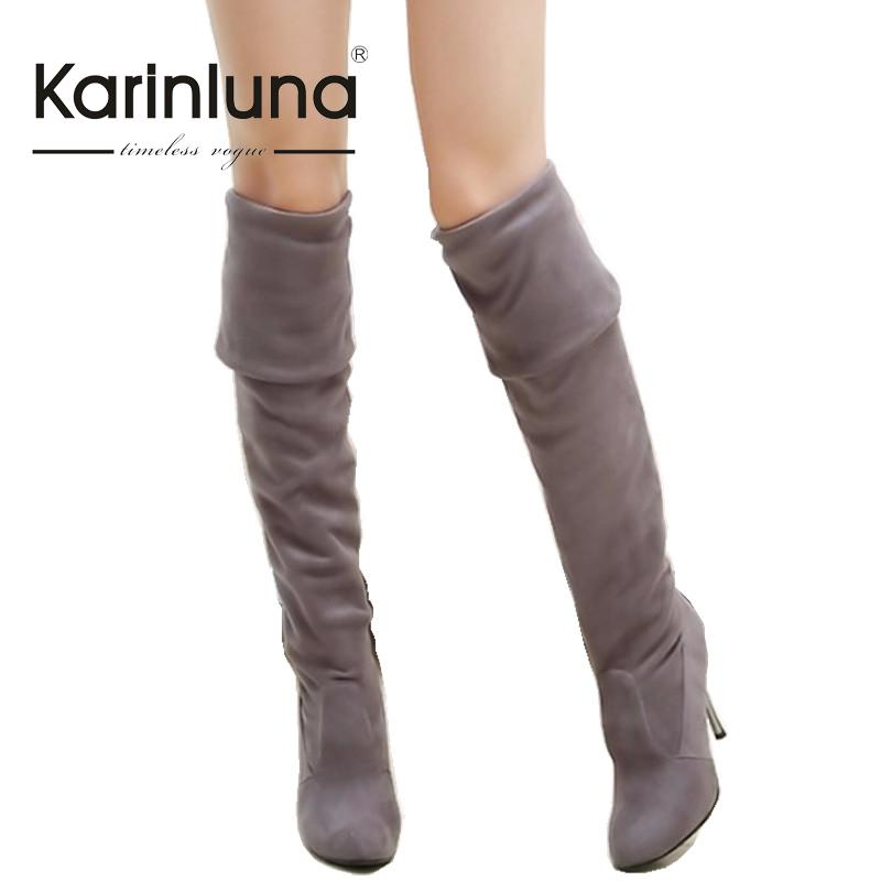 ФОТО Big Size 34-43 High Heels Women Boots Over the Knee High Boots Party Sexy Lady Fashion Winter Woman Shoes Brand New