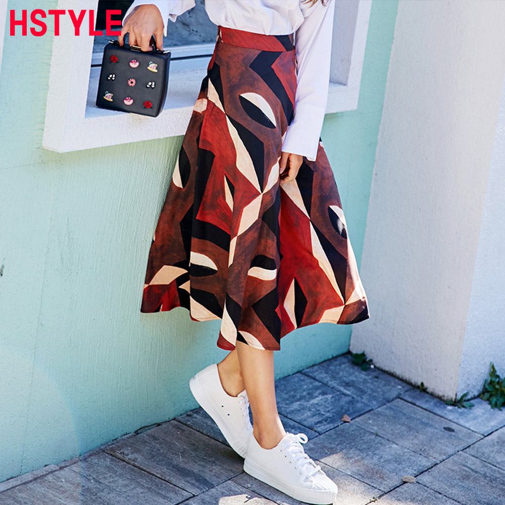 HSTYLE 2018 New Printing Skirt for Women Casual Mid-Length A-Line Retro Skirt Female Chic Yarn Skits Mujer