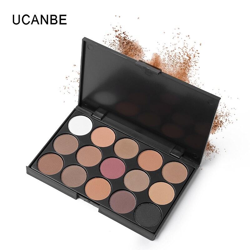 Conjunto de Maquiagem dos olhos 15 Terra Cor Matte Pigment Eyeshadow Palette Cosméticos Shimmer Eye Sombra Make Up Kit Por UCANBE