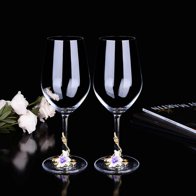 Color Enamel Crystal Wine Glasses Red Wine Cups and Mugs Creative Drinkware