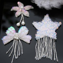 1pc 3D flowers star Rhinestone beaded Patches for clothing DIY sew on sequin rhinestone parches Beaded appliques hats bags