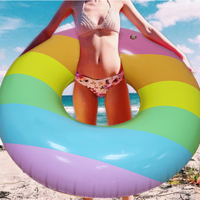 3 Styles Inflatable Swimming Ring Giant Tropical Palm Tree /Rainbow Trip/Starry Eyed Swimming Tube Water Party Toys Ins Hot Sell