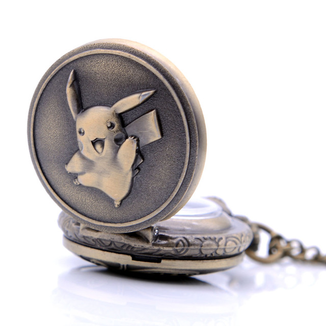 Antique Small Size Pikachu Pokemon Bronze Quartz Pocket Watch Mens Womens Necklace Chain Pendant Analog Watch Gift Kids Toy