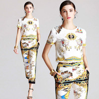 OLN 2018 Runway Women Sets Tosp Pants Suits Print Shirt Sets Summer Designer Two Pices Female