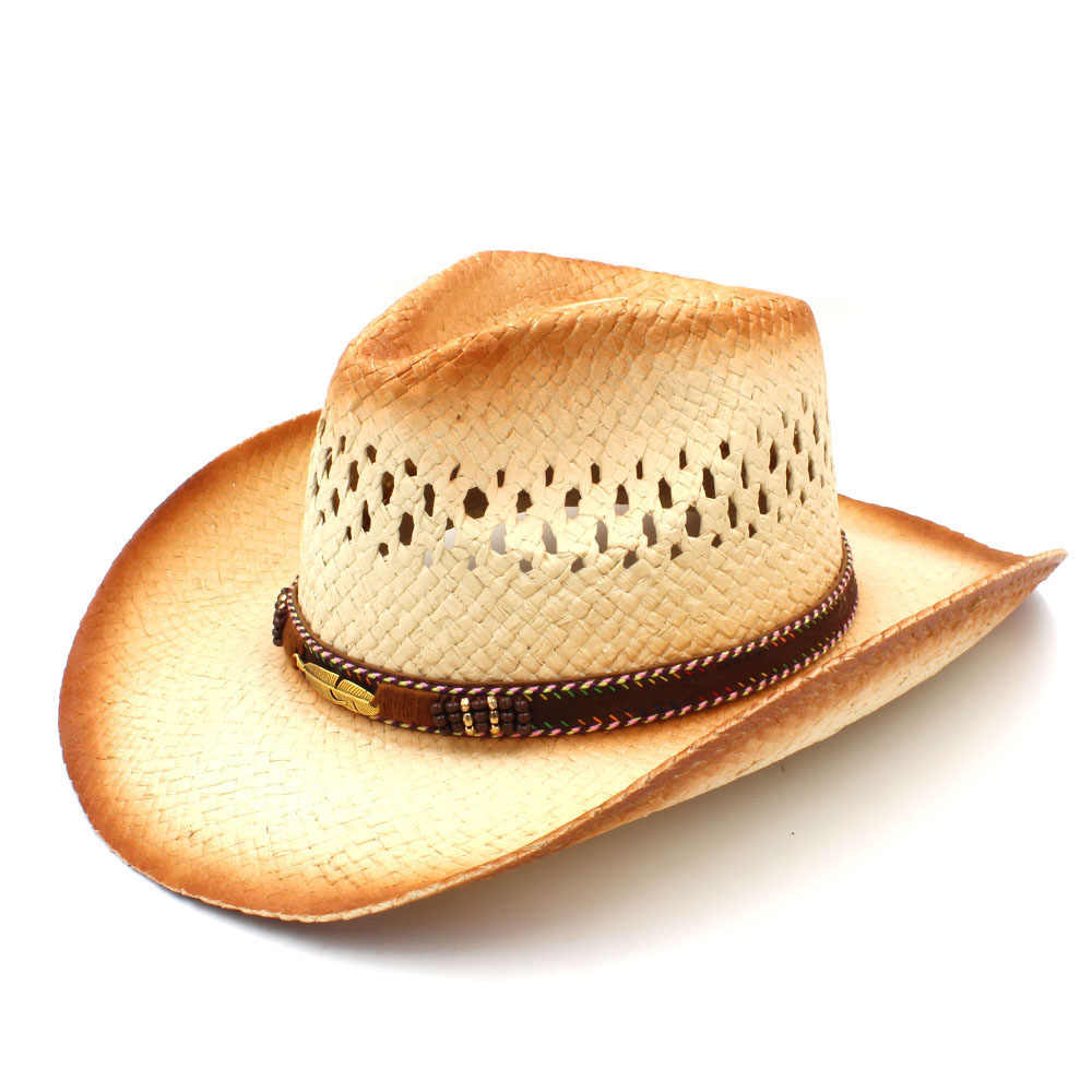 0241868f1 Fashion Women Men Western Cowboy Hat With Punk Leaves Band Handemade Weave  Straw Beach Sun Mesh Cowgirl Sombrero Size 58CM