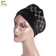 Novo Luxo magia Veludo Nigeriano Diamante Cravejado Extra Longas mulheres muçulmanas Cabeça Turbante envoltório Lenço Mulheres Hijab Turbante