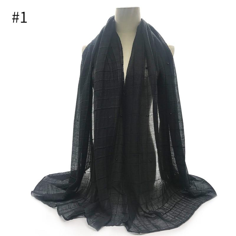 1pcs Hot sale crinkled pearls elastic viscose women scarf/scarves embossed grid shawl solid soft viscose Muslim hijabs wraps