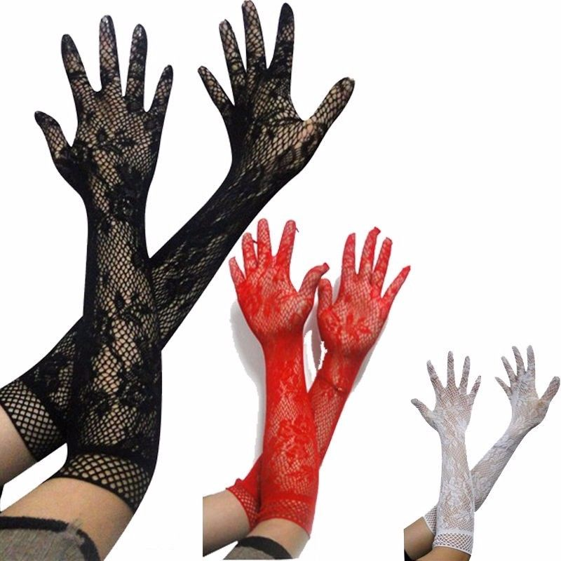 Bekleidung Zubehör Damen Mädchen Prom Hen Phantasie Spitze Elbow Länge Elegante Burlesque Handschuhe Französisch Maid Fischnetz Alt Bis Top Satin Bogen Delikatessen Von Allen Geliebt