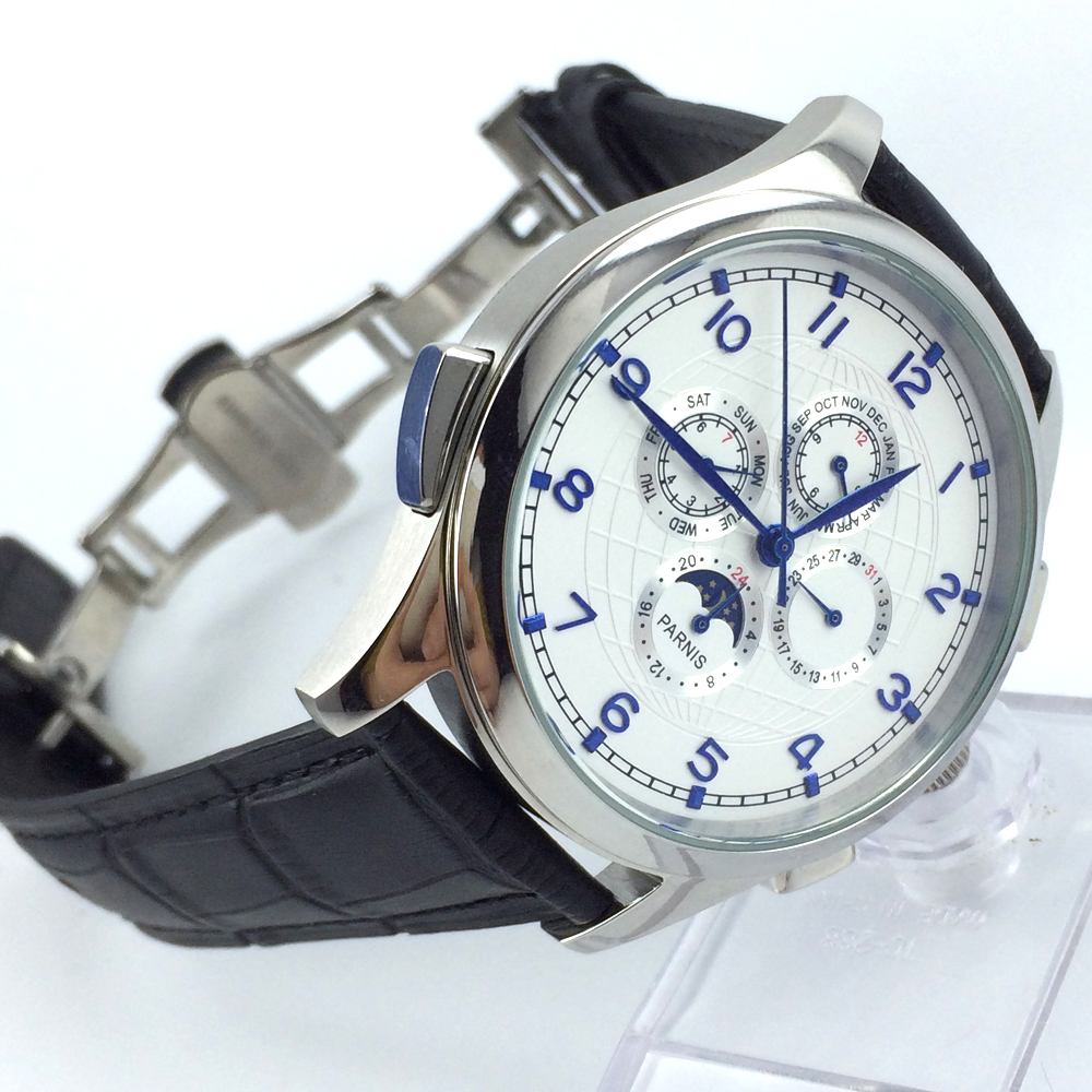 44mm parnis white dial date Moon Phase multifunction automatic mens watch все цены