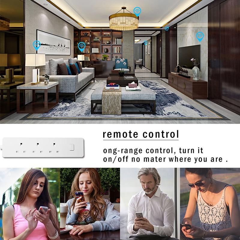 Wifi smart power strip, multi tomada do protetor do impulso soquetes com 3 tomada ca 2 porta usb, alexa eco/temporizador de controle de casa inteligente - 4