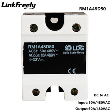 RM1A48D50 5pcs PLC Solid State Relay DC AC 50A,Output:42-530VAC Input:5V 12V 24V DC SSR Relay,Soft Starting  Relay Switch Board цены