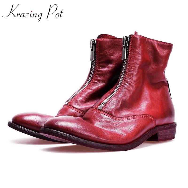Krazing Pot new full grain leather low heel modern streetwear limited customization zipper luxury vintage color ankle boots L1f1