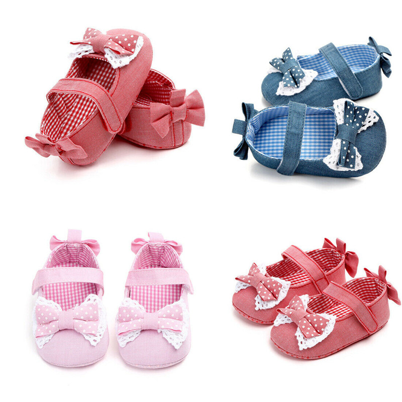 Newborn Baby Girl First Walkers Bowknot Soft Sole Shoes Lovely Trainers Pre-walker Infant Toddler Girls Solid Crib Shoes 0-18M