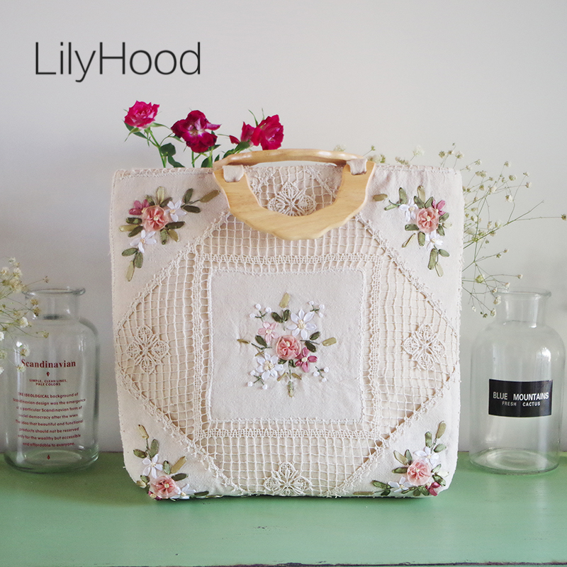 LilyHood Handmade Women Floral Embroidery Big Tote Bags Vintage Retro Shabby Chic Burlape Jute Crochet Lace Book Wool Handle Bag