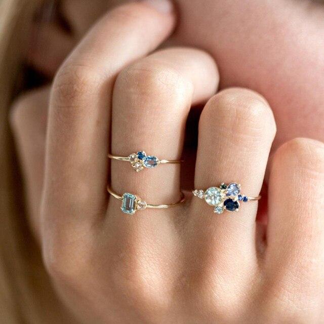 ZHOUYANG Ring Sets For Women Sweet Elegant Geometric Blue Crystal Light Yellow Gold Color 3 PCS Birthday Fashion Jewelry KAR250