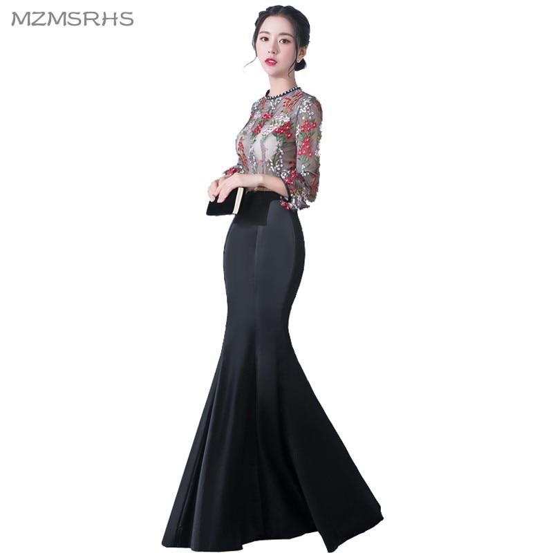 MZMSRHS Elegante 3/4 Ärmel Abendkleid Candy Farbe Spitze Kleider - Kleider für besondere Anlässe - Foto 4