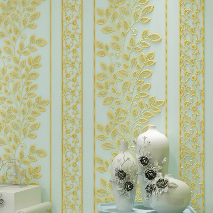 3D Papel de Parede European Style Vinyl Wallpaper with Stripe Leaves 3d Wall paper for Bedroom Background 3 colors custom european style wallpaper marilyn monroe for the sitting room the bedroom tv setting wall vinyl which papel de parede