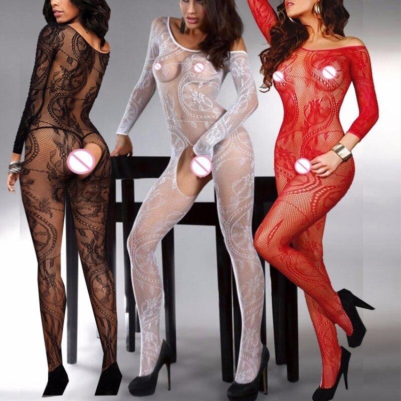 Women Body Stockings Sexy Lingerie Lenceria Erotic Underwear Intimates Lenceria Plus Size Open Crotch Fishnet Stockings QQ006