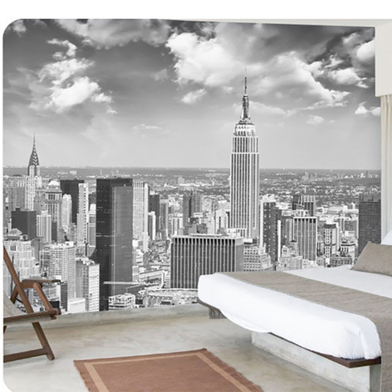 Black and white new york city landscape large murals bedroom living room tv backdrop wall - Murales camera da letto ...