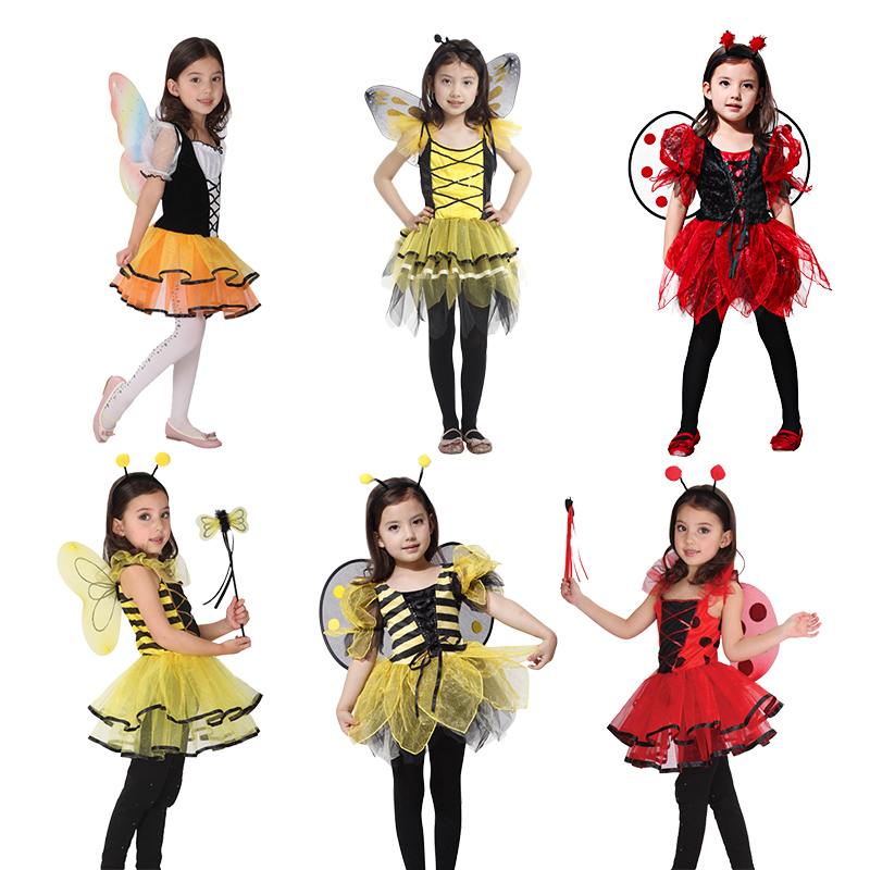 Halloween Women Kids Cute lady bug honeybee fairy for kids girls dresses up Fancy Masquerade Party Dragonfly Dance