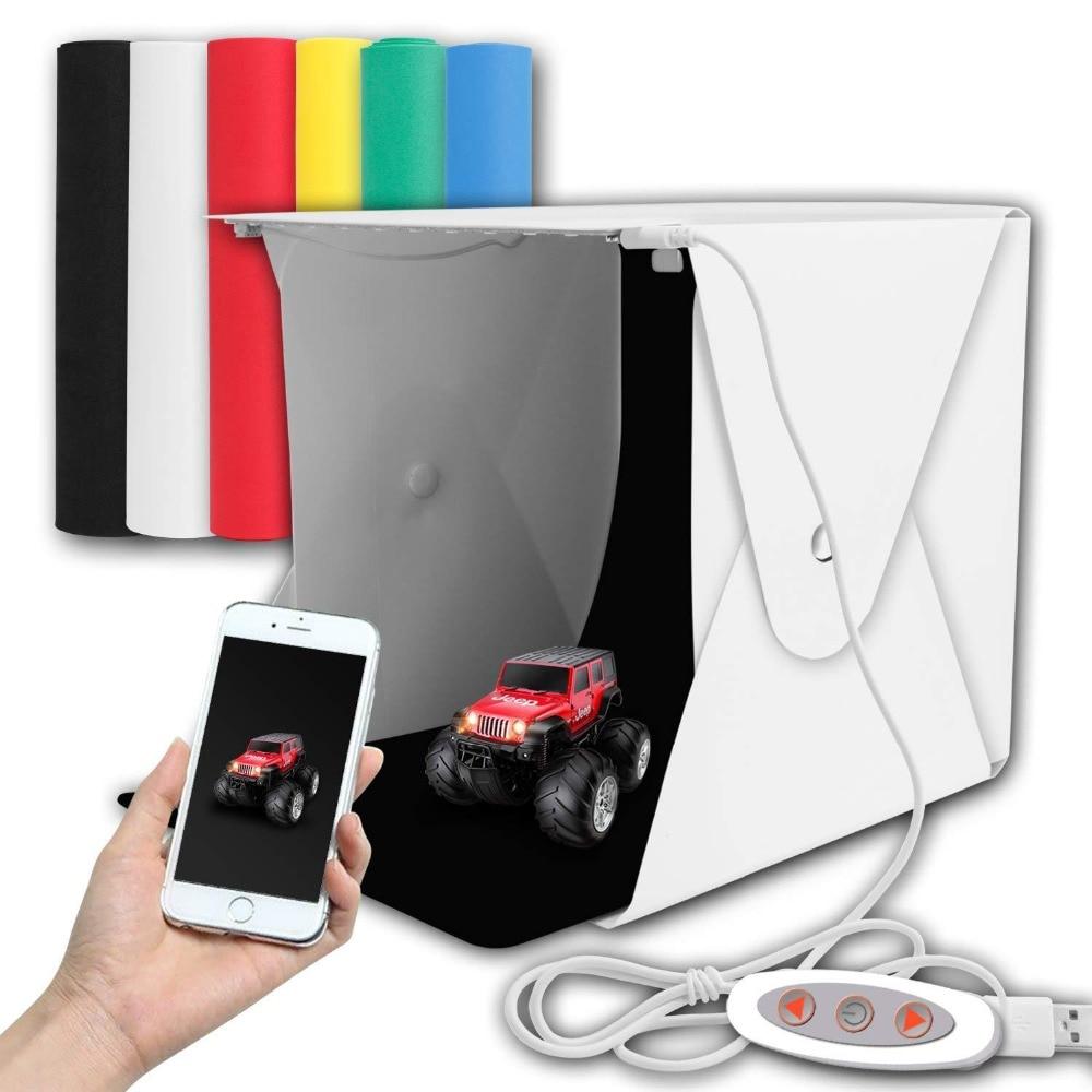 2 LED Folding Lightbox Mini Portable Photography Photo Studio Softbox Adjustable